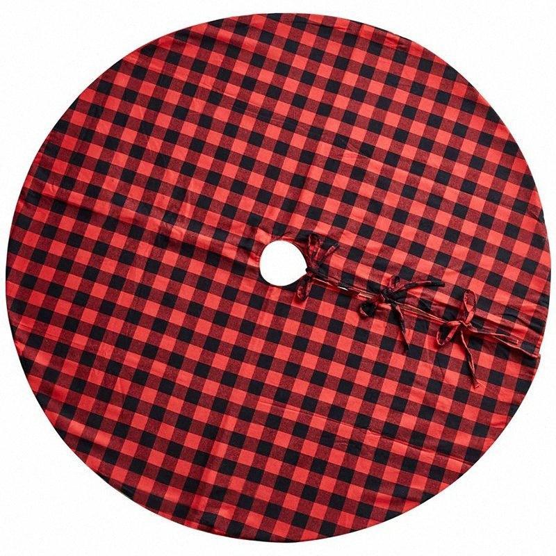 48-pulgadas de árbol de Navidad falda roja y Negro Plaid falda de árbol de Navidad para las decoraciones interiores y exteriores, Pa Cupa #