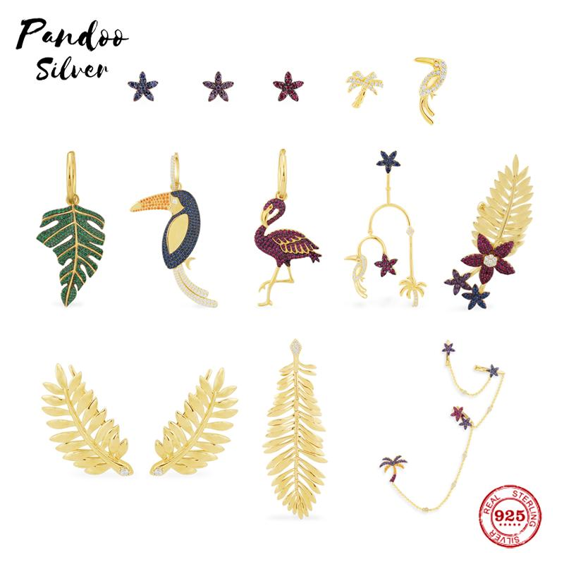 S925 Sterling Silver Jewelry Copy,Collection TROPICANA,Mono Toucan Earring,Mono Floral And Palm Leaf Ear Cuff With Logo