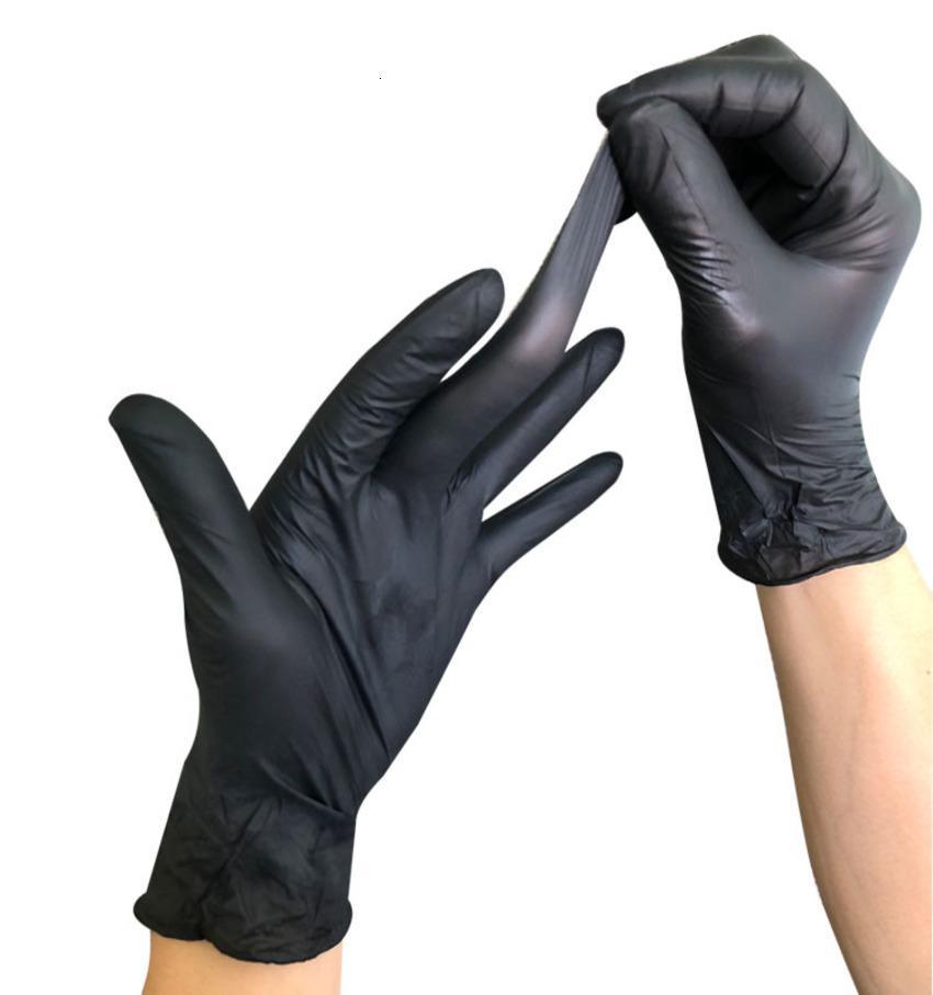 Одноразовая нефтестостойкая кислота-базовая татуировка для ногтей для ногтей труда страхование промышленного автомобиля ремонт черных нитриловых перчаток E6UA