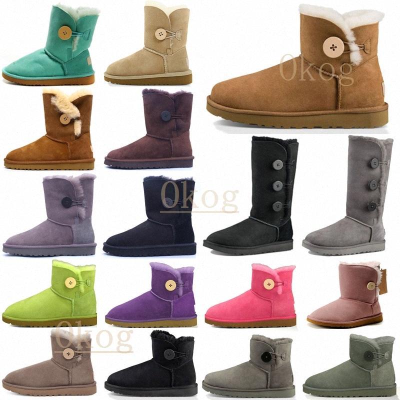 2021 المصممين الأحذية الأسترالية البسيطة بيلي الكاحل الثاني زر مستقيم ثلوج المرأة أفخم إمرأة فتاة سيدة الشتاء الركبة