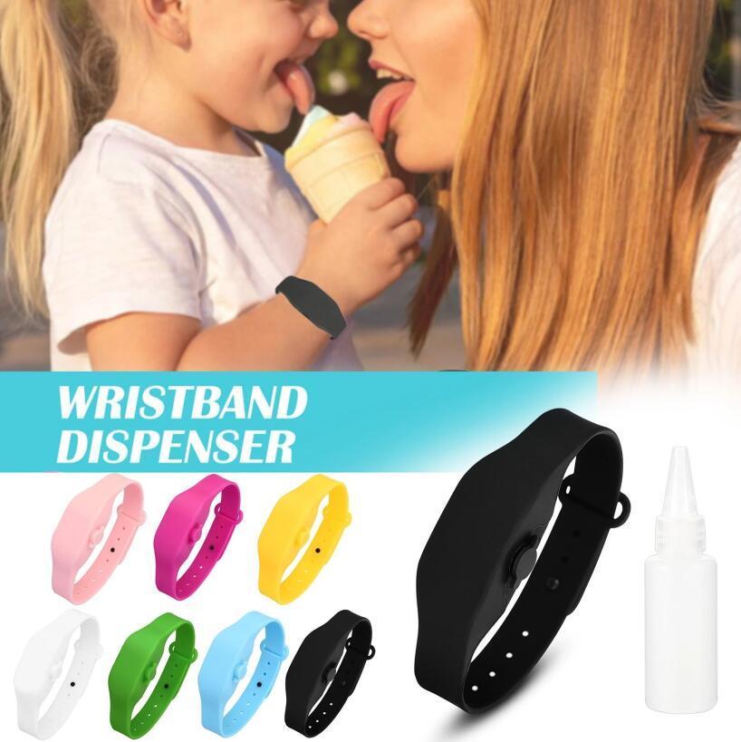 Botella de Plástico 7Color recargable de silicona pulseras desinfectante desinfectante de la mano pulsera Dispensador Dispensador usable Sanitizering Viajes Con