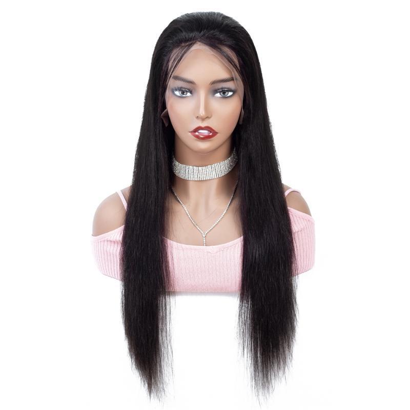 8-34 pollici 13x4 parte anteriore del pizzo dei capelli umani parrucche Pre pizzico brasiliana diritta dei capelli umani 4x4 pizzo parrucca di chiusura per Black Women