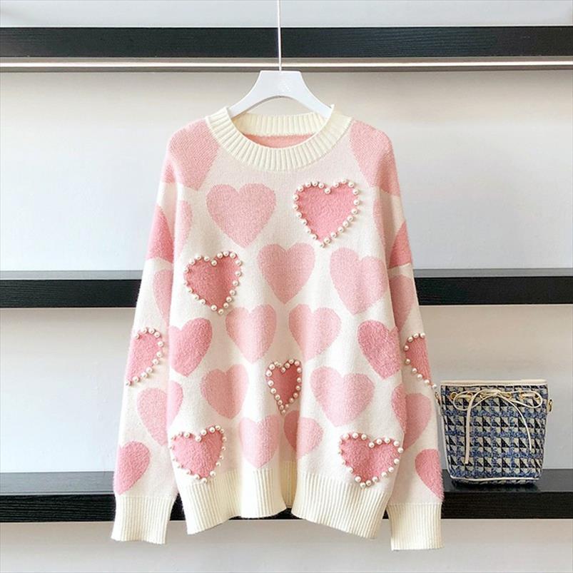 2020 Осень Женщины Пуловер из бисера Love Heart жаккард Перемычка Повседневный Прицепные Femme свитер перевозка груза падения