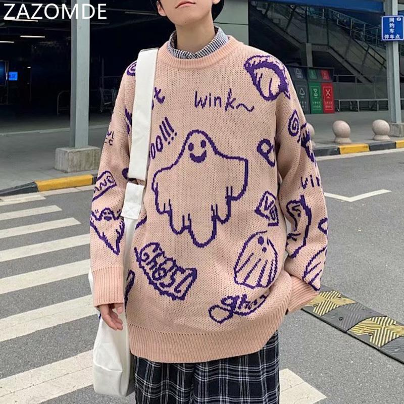 Men Hip Hop Sweater Cartoon Casual Loose Knitted Pullover Autumn Winter Knitted Men's Sweater Couple Unisex Design Q1110