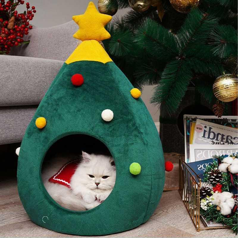 Casa de Natal durável ninho macio para cães árvore da árvore cama gato tenda animal de estimação longo cão de pelúcia sofá quente suprimentos
