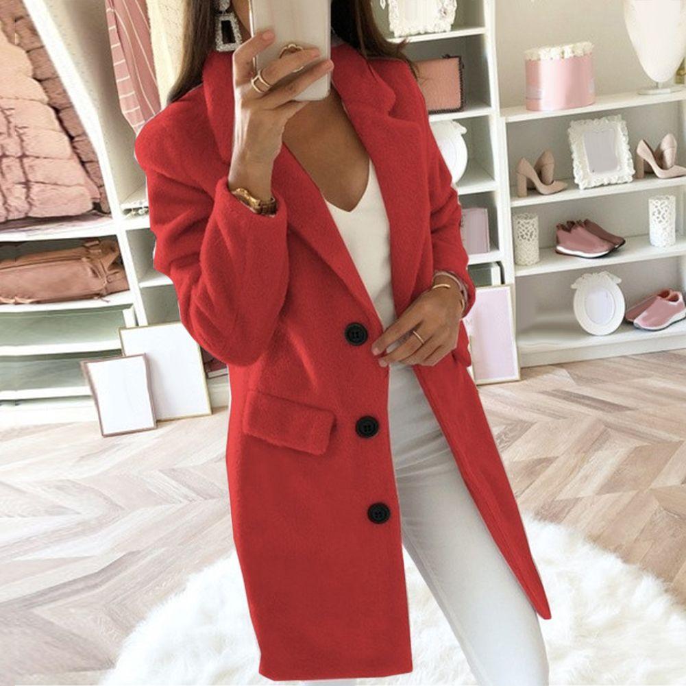 3-5XL China Code Autumn Winter Long Sleeve Cardigan Solid Color Women Lapel Blazer Jacket Coat Women's Clothing