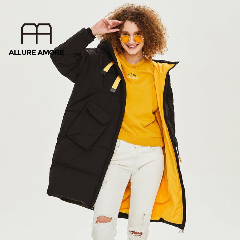 Uzun kadın Beyaz Ördek Aşağı Ceket Kış Kapitone Ceket Kadın Artı Boyutu Sıcak Pamuk Uzun Parka Rüzgar Geçirmez Giysileri Yeni Top 201102