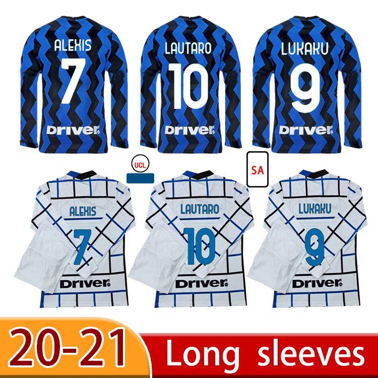 20 21 personalizado Lukaku alexis eriksen futebol camisas manga longa skriniar godin barella vecino lautaro camisas de futebol homens terno adulto homens