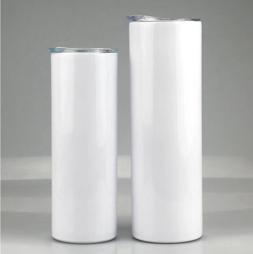 20oz 30oz 스키니 텀블러 빈 승화 슬림 컵 커피 머그잔 뚜껑과 플라스틱 짚 맥주 머그잔 해상 운송 CCA12591