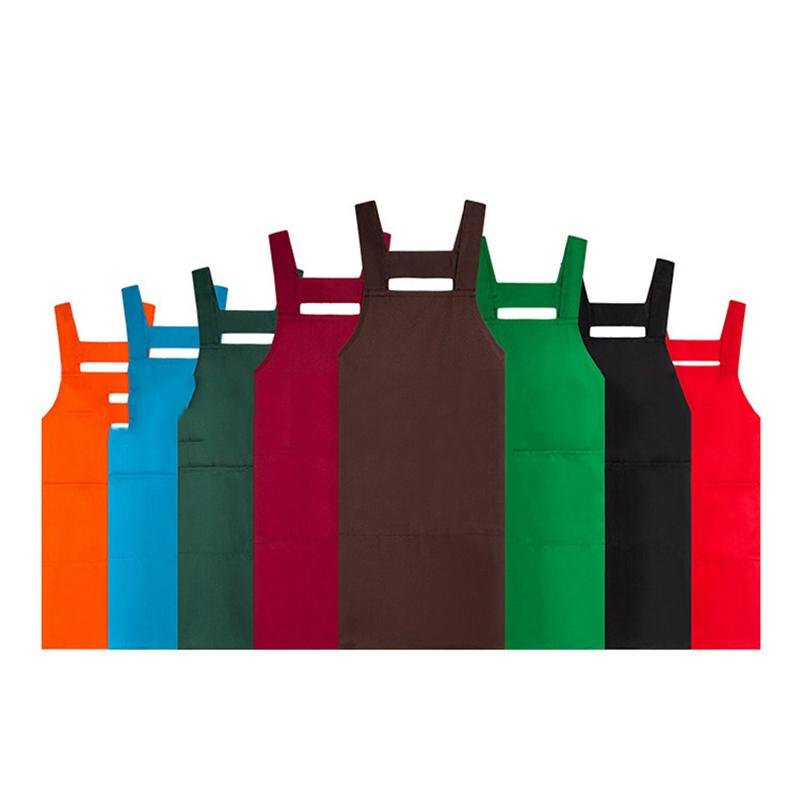 Men And Women Kitchen Apron Fashion Solid Color Double Pocket Sleeveless Aprons Home Cook Cooking Baking Cleaning Tools