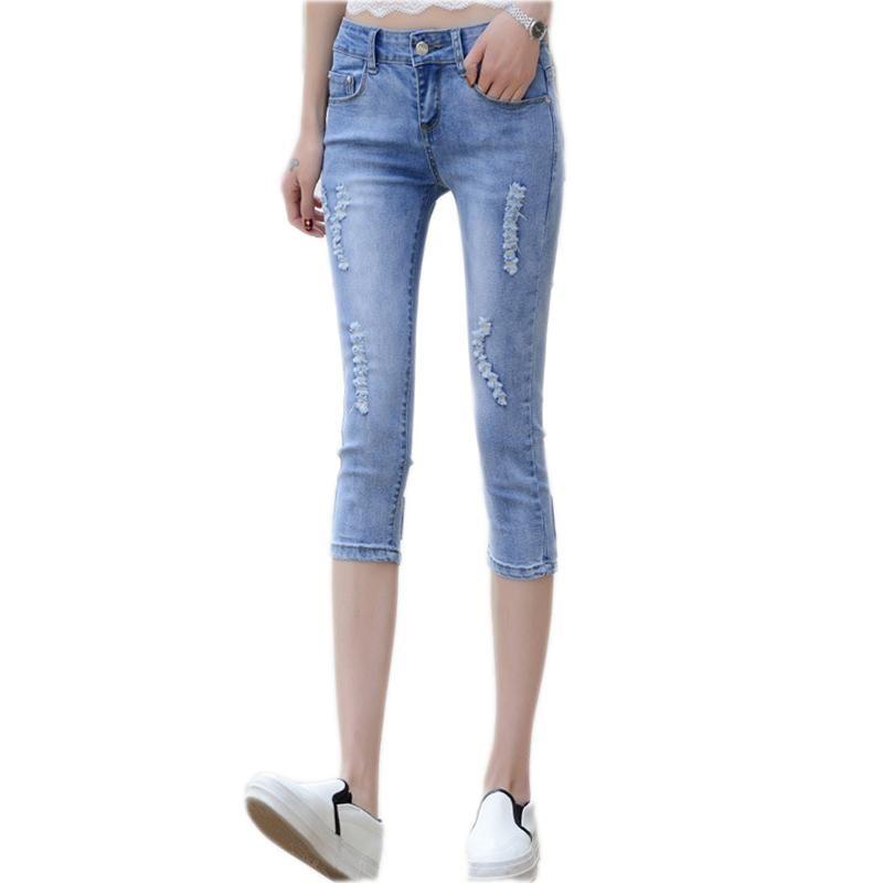 Talla grande WOBOEN JEANS Verano Mujeres Pegajos Pega Skinny Bowknot Denim Coreano Pantalones Lápiz Casual Estirar Hole Denim Pants S-4XL