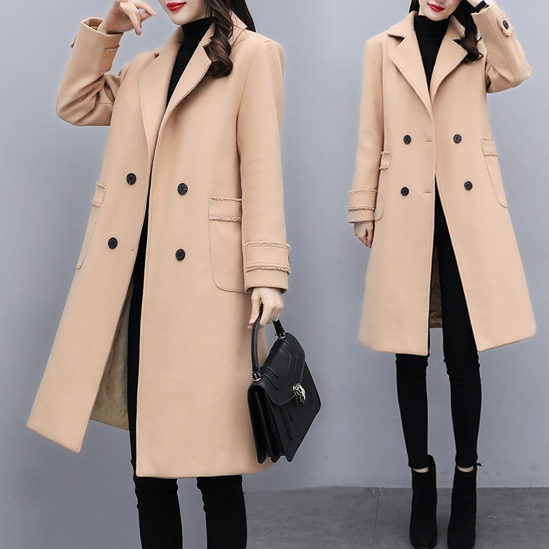 Женская шерсть смесится большой размер средней длины шерстяного пальто для женщин 2021 осенью и зимний свободный западный стиль для похудения элегантное пальто