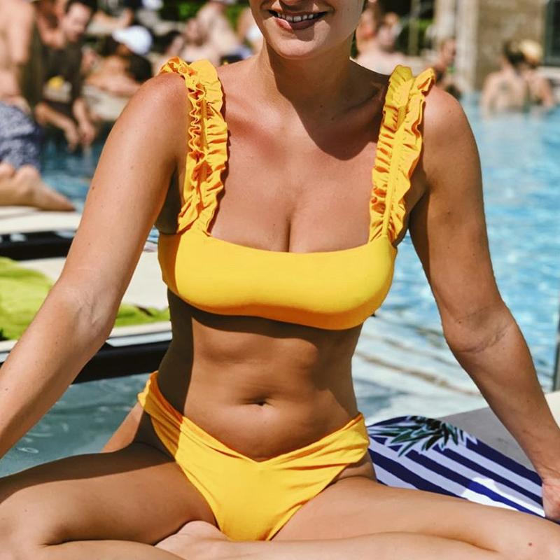 Sexy Bikini Bikini Set Haute Coupe Maillot de bain 2019 Mode Summer Bathers Jaune Maillot de bain Femmes Push Up Maillot De Maillot de bain Femme Biquini