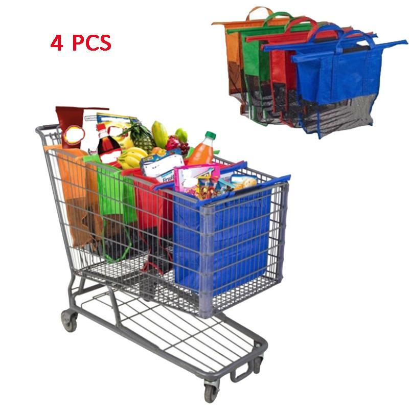 Cart Bags Reusable Handbag Supermarket Shopping Recycle 4pcs/Set Thicken Eco-Friendly Shop Trolley Totes Shopping Foldable Bags Puffu
