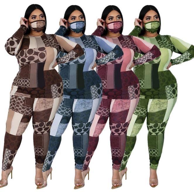 Plus Size Frauen 2-teiliges Set beiläufige O-Ausschnitt Langarm-dünne 2pcs Frauen Designer-Kleidung