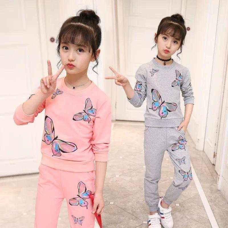 Kızlar Giyim Setleri Sonbahar Kış Çocuklar Uzun Kollu Tişörtü + Pantolon Suit Kız Outewear Çocuk Giyim Seti 5 7 8 9 10 12 Yıl 201023