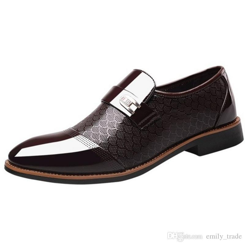 New Men лакированные ботинки платья Остроконечные Toe скольжения на Свадебная обувь оксфорды Человек Костюм офиса обувь