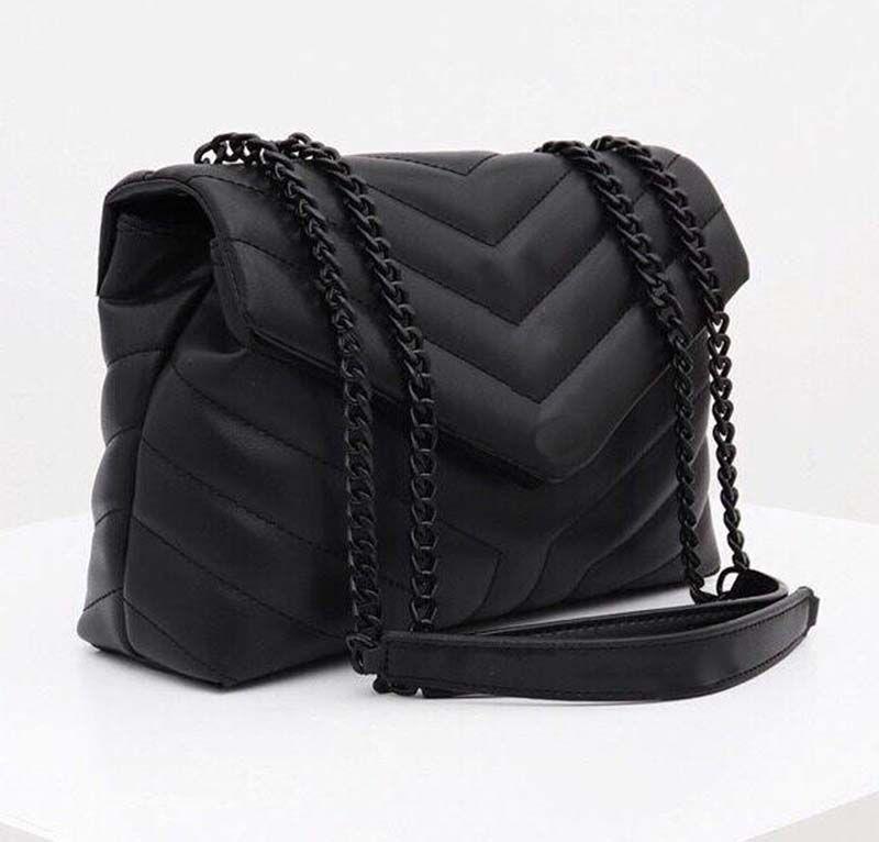Bolsos de diseñador Loulou en forma de y acolchado de cuero de cuero real bolsas de la cadena bolsa de hombro de alta calidad bolsa de solapa color múltiple para choo