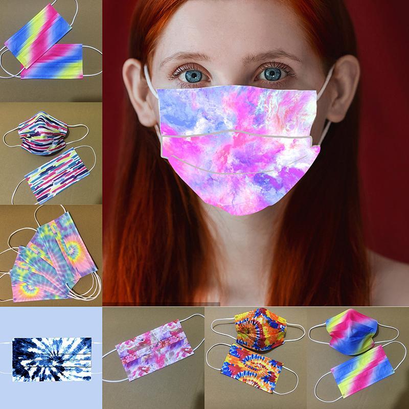 Drei Schichten abbindgefärbten Einweg-Gesichtsmaske für Erwachsene Schutzmasken mit Schmelz Spray personalisierten Designer Masken Druck