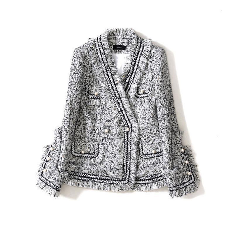 여성 패션 격자 트위드 술 진주 버튼 V 넥 짧은 블레이저 코트 회색 수제 럭셔리 재킷 정장