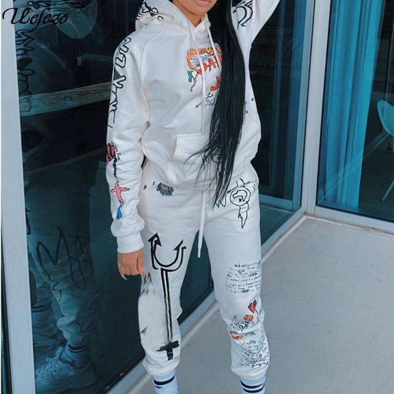 Kancool Imprimir Graffiti Streetwear Dois 2 Piece Conjunto Tracksuit Feminino Branco Negro Hoodies Calças Mulheres Matching Outfits Sweatsuit