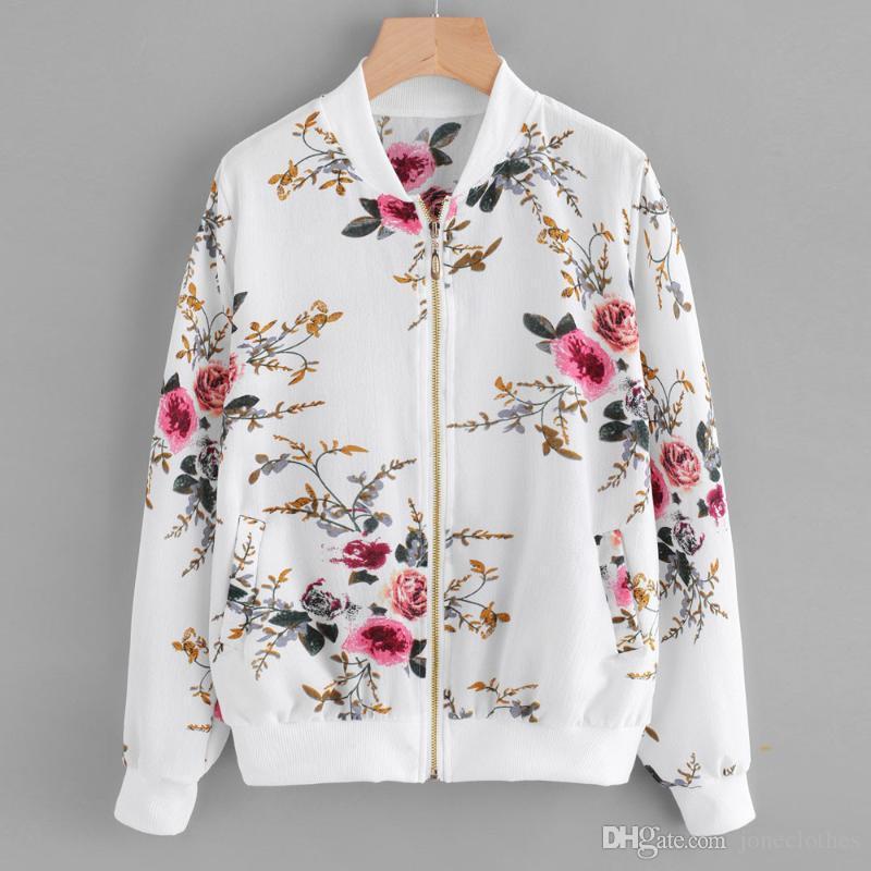 Print Bomber Jacket Mulheres Flores Zipper Up Retro Casaco Primavera 2020 Manga Longa Basic Plus Size Curto Biker Jaquetas Feminino #ng
