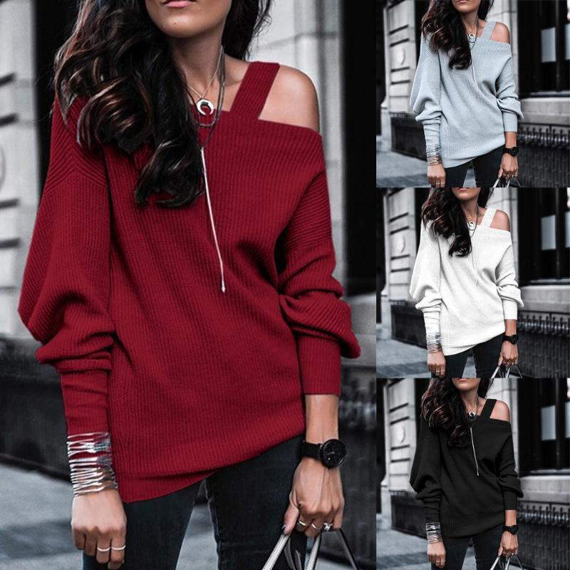 Nuevas mujeres casuales otoño invierno baisc suéter punto camiseta arriba un hombro manga larga más tamaño s ~ 3xl