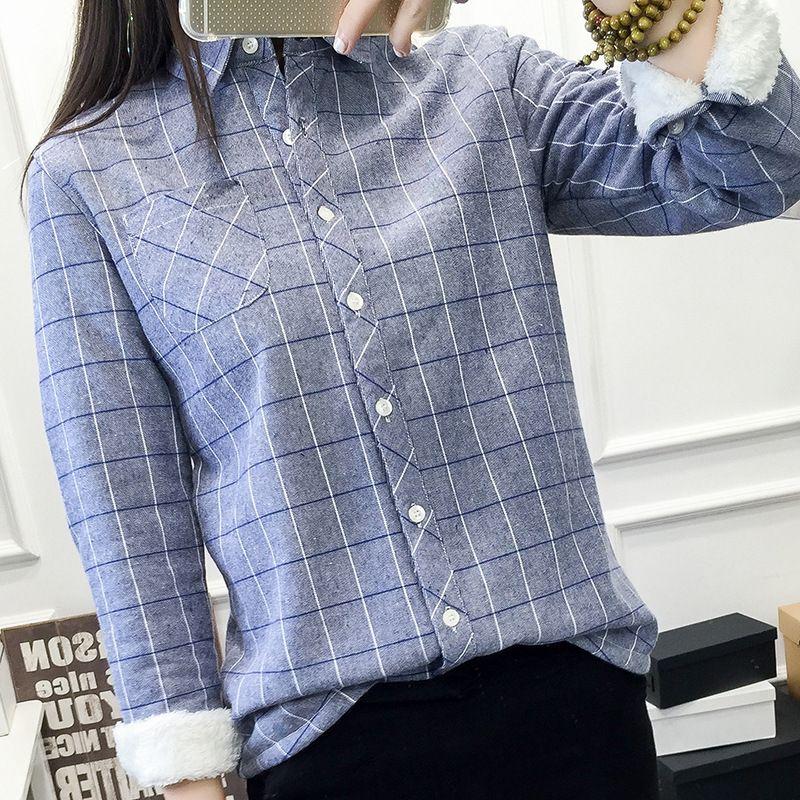Nouvelle mode des femmes d'hiver Chemises Casual Chemise en coton chaud Hauts pour femmes manches longues à carreaux Chemisier Toison Épaississement Manteaux 200930