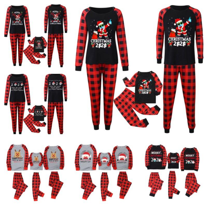 Família Matching 2020 2021 Máscara Natal Pijamas Set Buffalo Plaid duas partes Roupas Crianças PJM Blusa + Pants roupas de dormir Sleepwear E110301