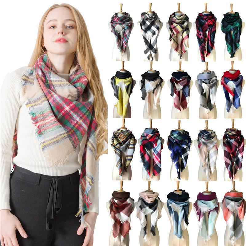 Mode Winter-Plaid Dreieck Schal Tartan Kaschmir Acryl Schal Frauen Blanket Schal warmer Schal prüfen Pashmina Lattice Neck Plaid-Stola