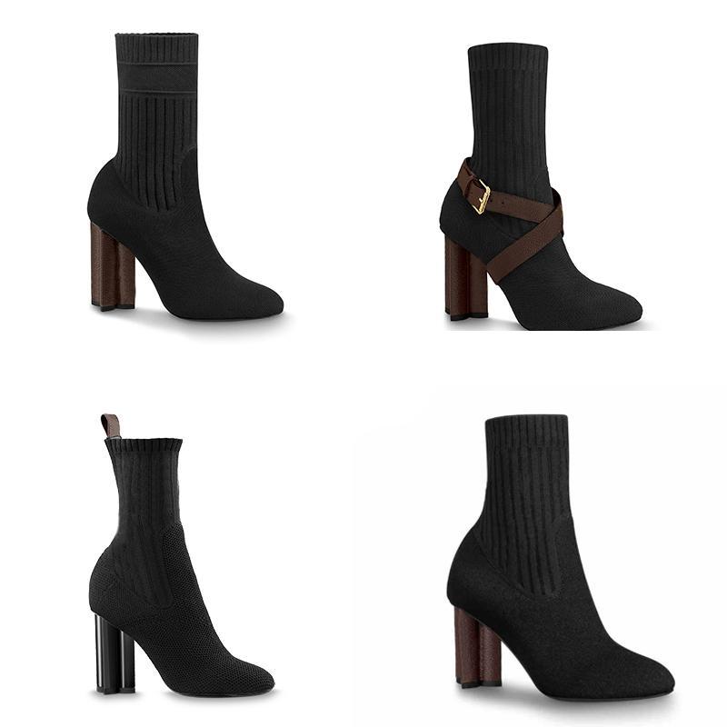 Damen Designer-Stiefel Silhouette Ankle Boot Black Stretch-Absatz-Socken-Boot und Flat-Socken-Sneaker Stiefel Winter Damen Schuhe