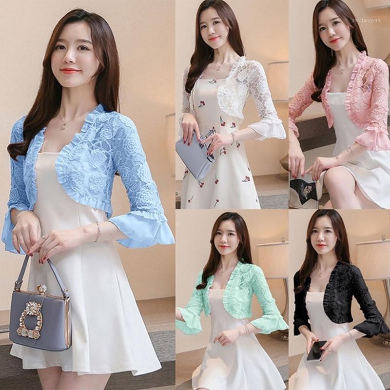 Novo Verão 2020 Camisa de Laço Camisa Mulheres Blusa Escavar Lace Crochet Curto Tops Cardigan Xaile Waistcoat Vest Blusas Femininas1