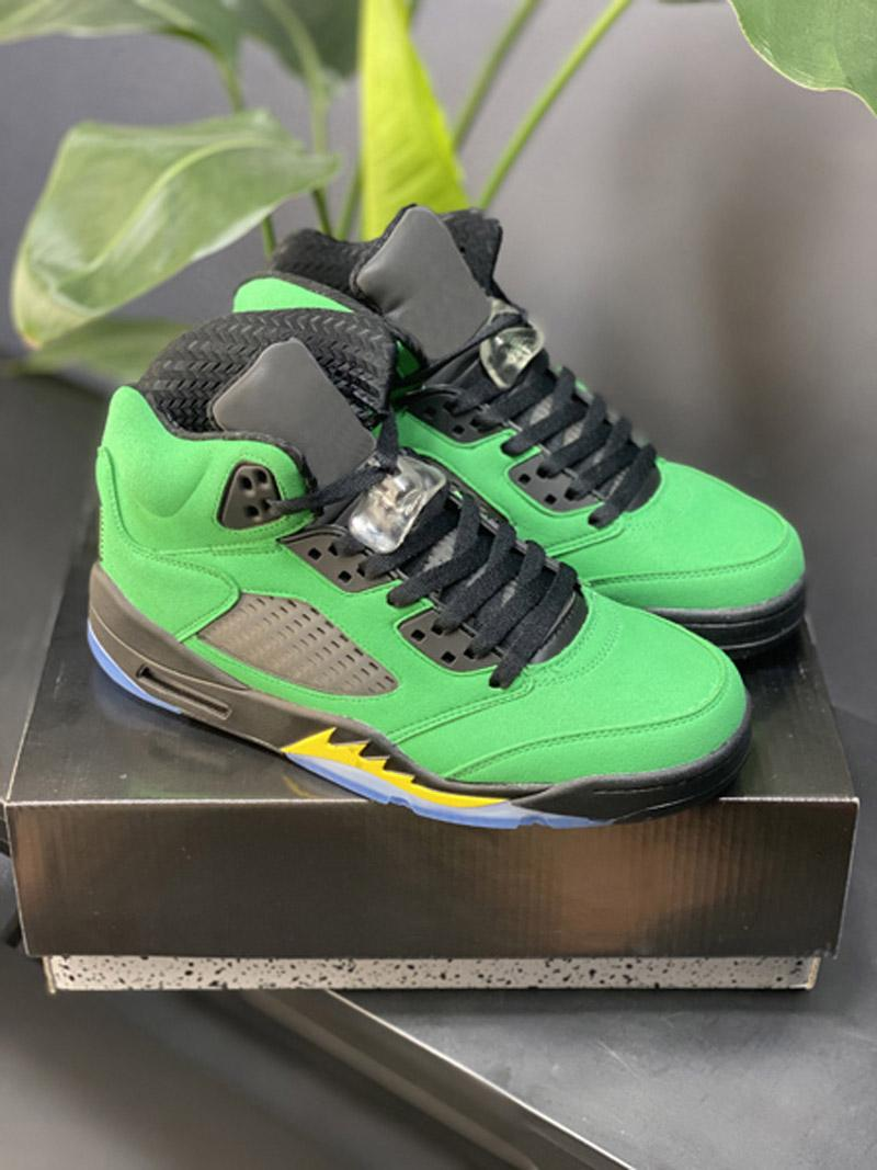 Jumpman 5 What The Fire Red 5s Oregon anatre Mens Basketball Shoes 13s 13 3M fortunati verdi Flint Sport Sneakers veloce Shippment