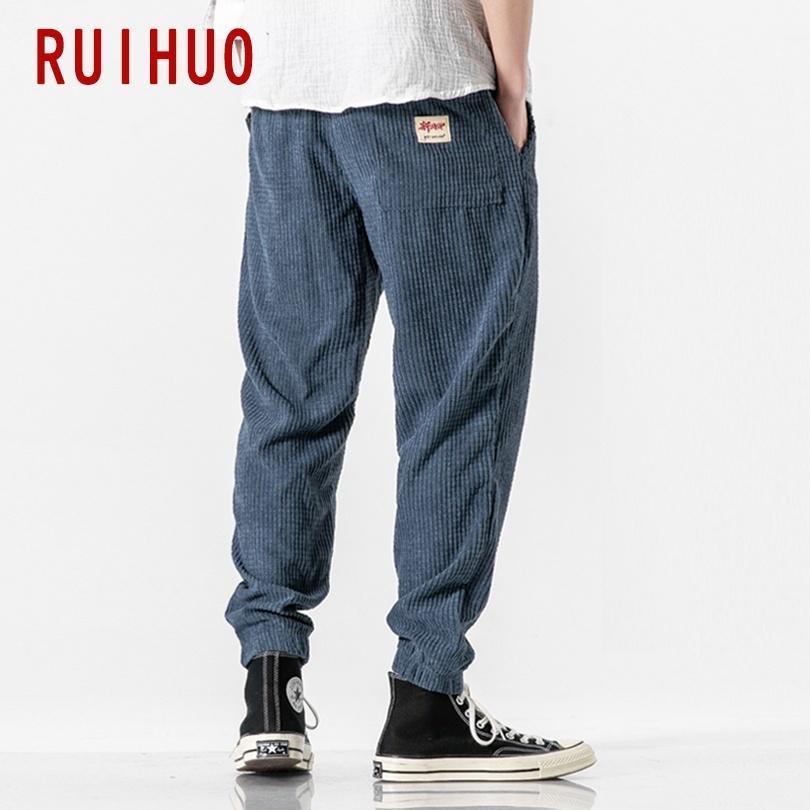 RUIHUO Sonbahar Kadife Harem Pantolon Erkekler Koşucular Erkek Pantolon Koreli Streetwear Erkek Casual Pantolon Hip Hop Eşofman M-5XL 201112