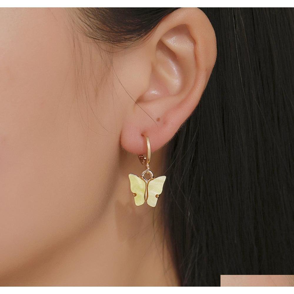 2020 Nova Borboleta Acrílica Colorida Dangle Brincos para Mulheres Acetic Ácido Declaração Declaração Ear Brincos Fash Sqclex Queen66