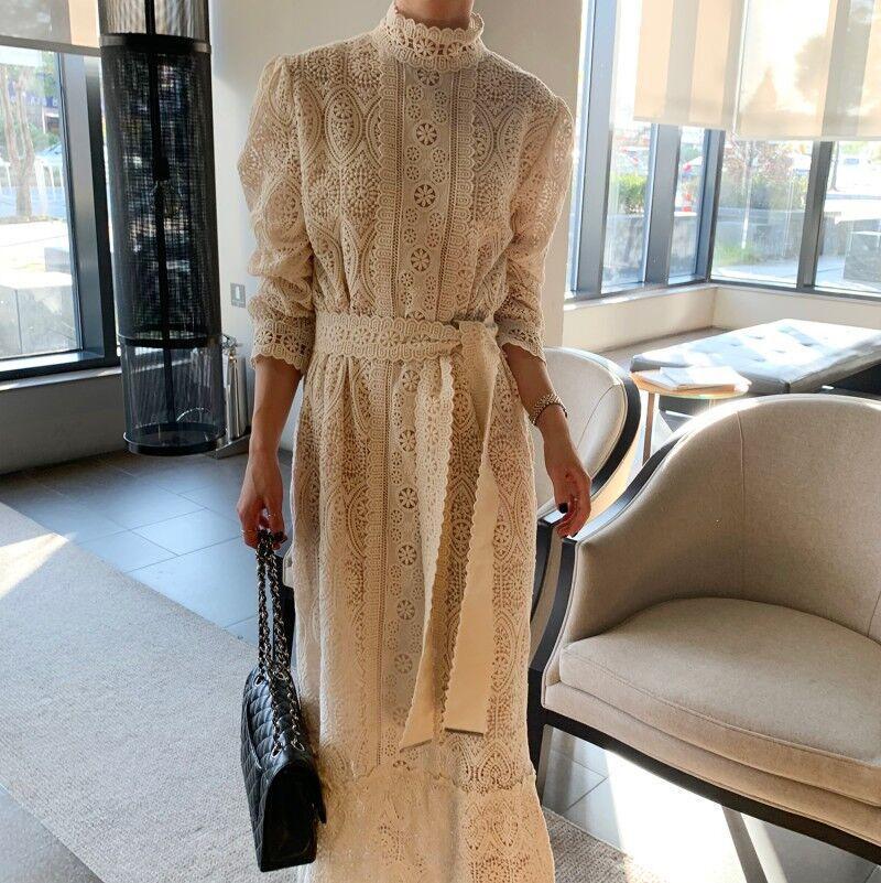 2020 élégante dentelle All-match-coréen élégant à lacets Chic Crochet Fleurs Femmes Doux doux filles Mode Femme Robes longues