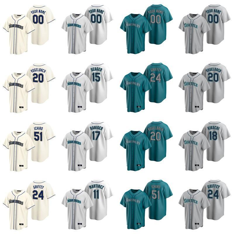 24 Ken Griffey Jr Jersey Bayan Mitch Haniger 51 Ichiro Suzuki 15 Kyle Seager 22 Robinson Cano Daniel Vogelbach Beyzbol Formalar Özel