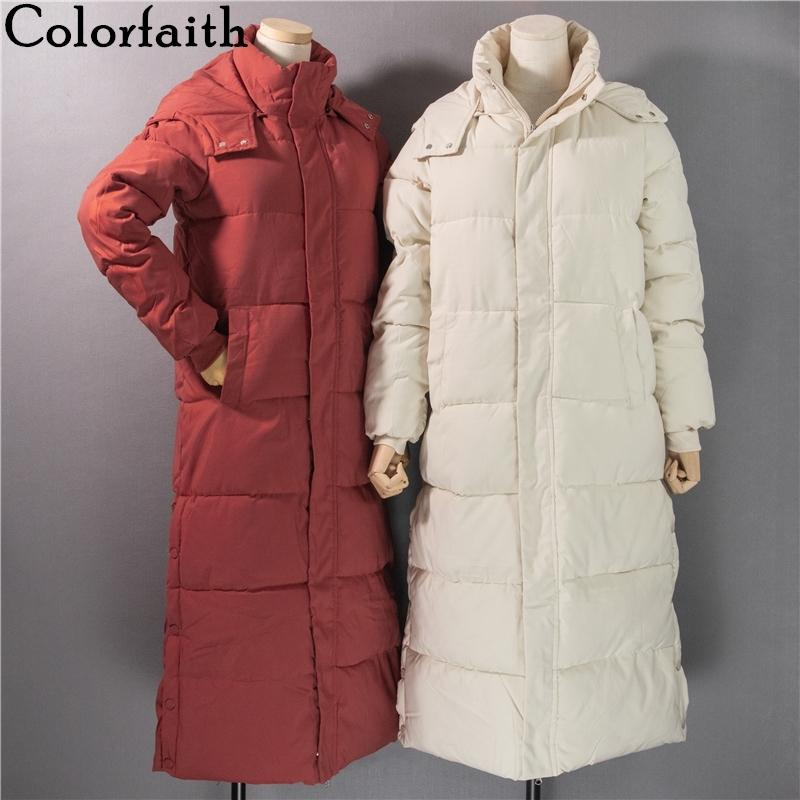 Colorfaith New 2020 Autumn Winter Women Long Jacket Pockets Quilted Hem Split Puffer Parkas High-Quality Hooded Warm Coat CO811X1016