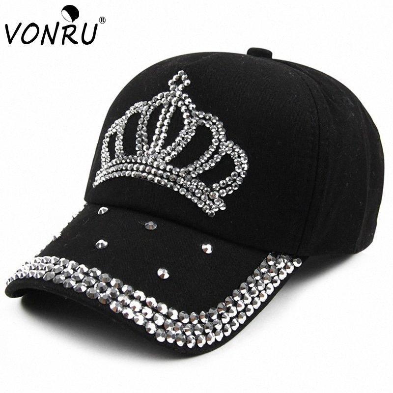 Großhandel VONRU New Crown Strass Baseballmützen Mode Jean Hip-Hop Hut Frauen-Denim-Baseballmütze Sonnenhut E0kf #
