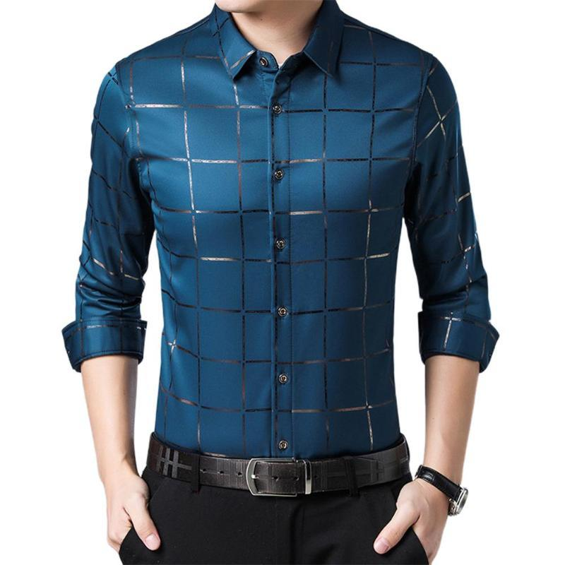 Plus Size Hommes Casual manches longues Turn Down col Boutons Checks Slim Shirt