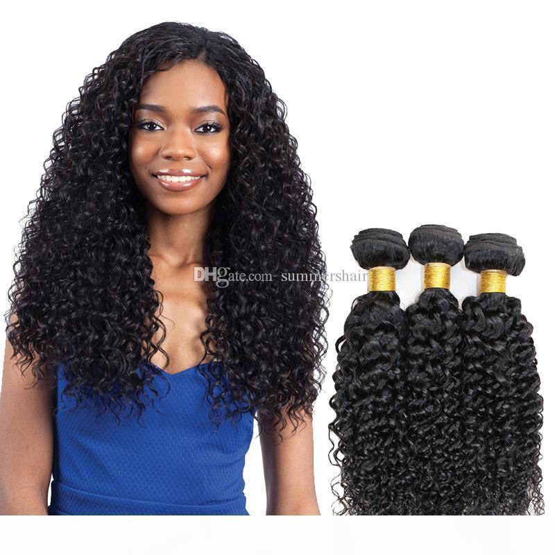 Malezyalı Bakire Saç Doğal Kıvırcık Stili 8-26inch 1 3 4 Demetlerine Amerikalı Kadınlar için Jerry Kıvırcık Saç Dokuma Atkı Fiyatları