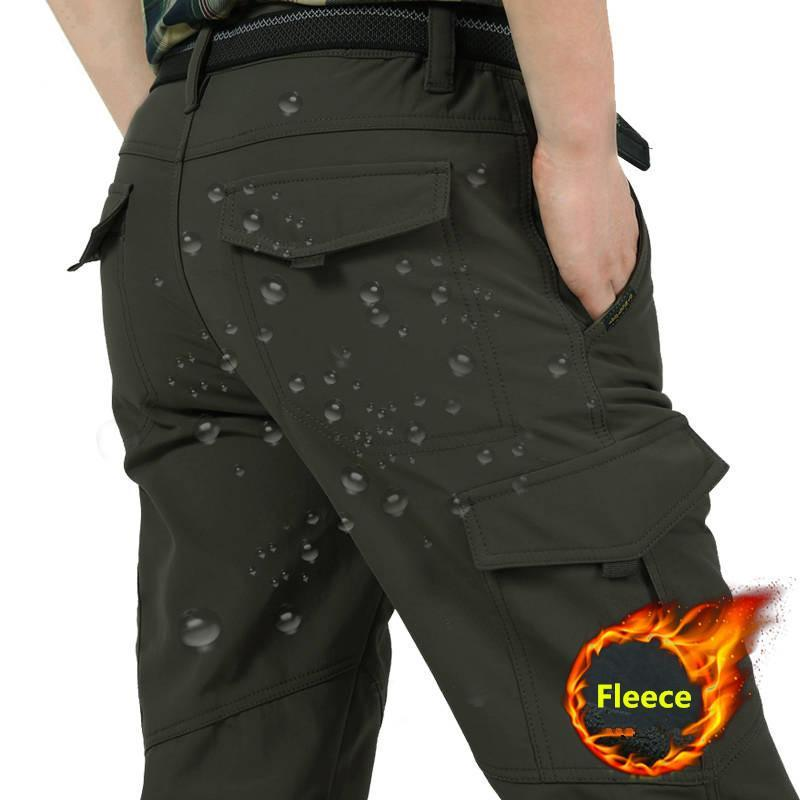 Pantalones de carga de vellón de color grueso de invierno masculino Pantalones de carga impermeables Softshell Pantalones tácticos Pantalones tácticos Tallas 4XL