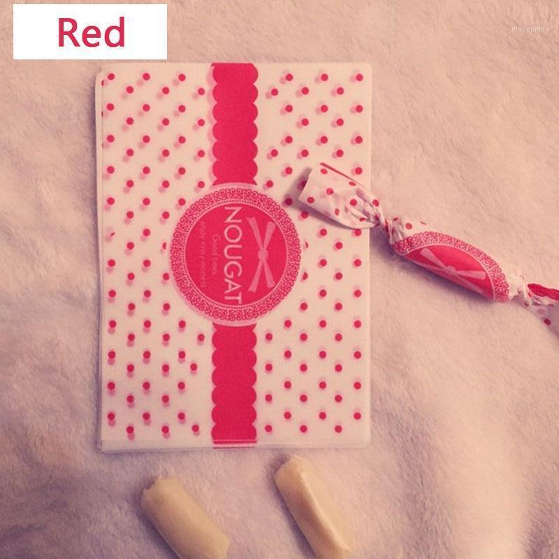 200 pcs / lote doces wrapper vermelho cor relógio decoração dot padrão torcendo papel de cera casamento casamento celebrar wrappers de açúcar papel1