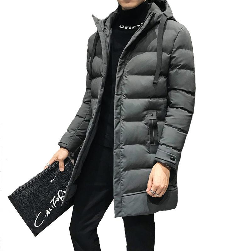 Мужской теплого ветровки Корейского пальто Длинных Стиль Зима Мужчина куртка