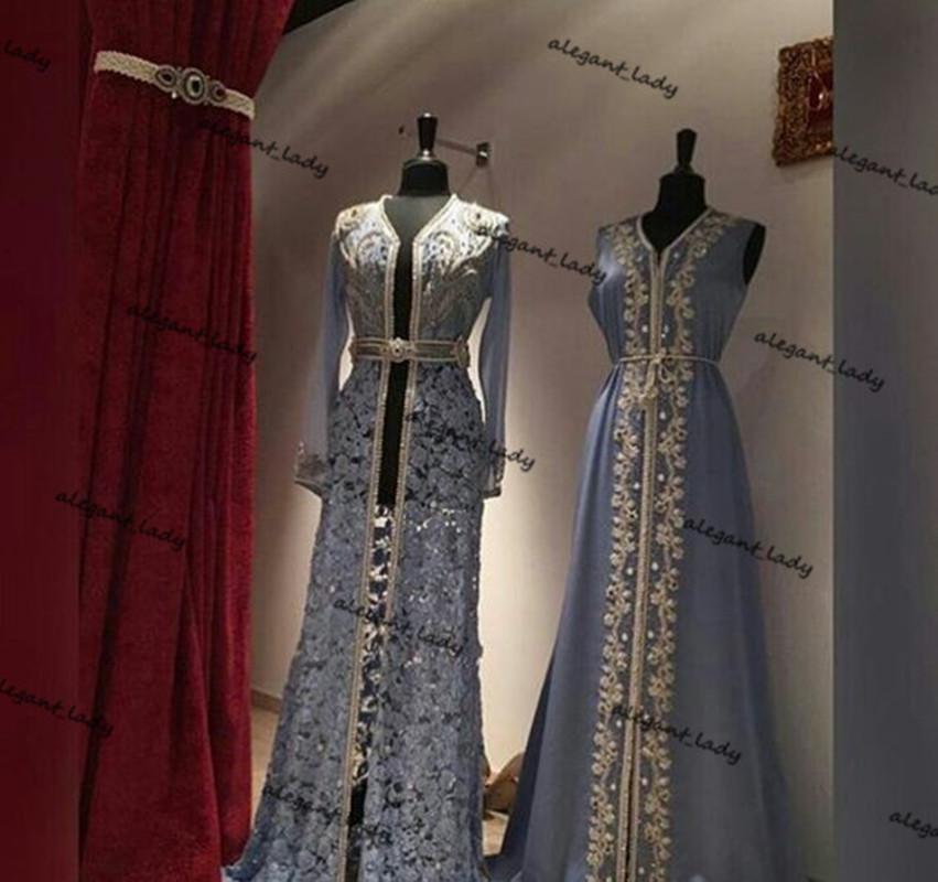 Dusty Blue Caftan Одели Вечерние платья 2021 Кружева Шифон Вышивка из бисера Кафтан Марокканская Кафтан Дубай Абая Арабский выпускной платье