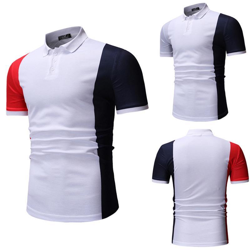 T-shirt à manches courtes d'été Couleur occasionnel pour hommes Polo T378