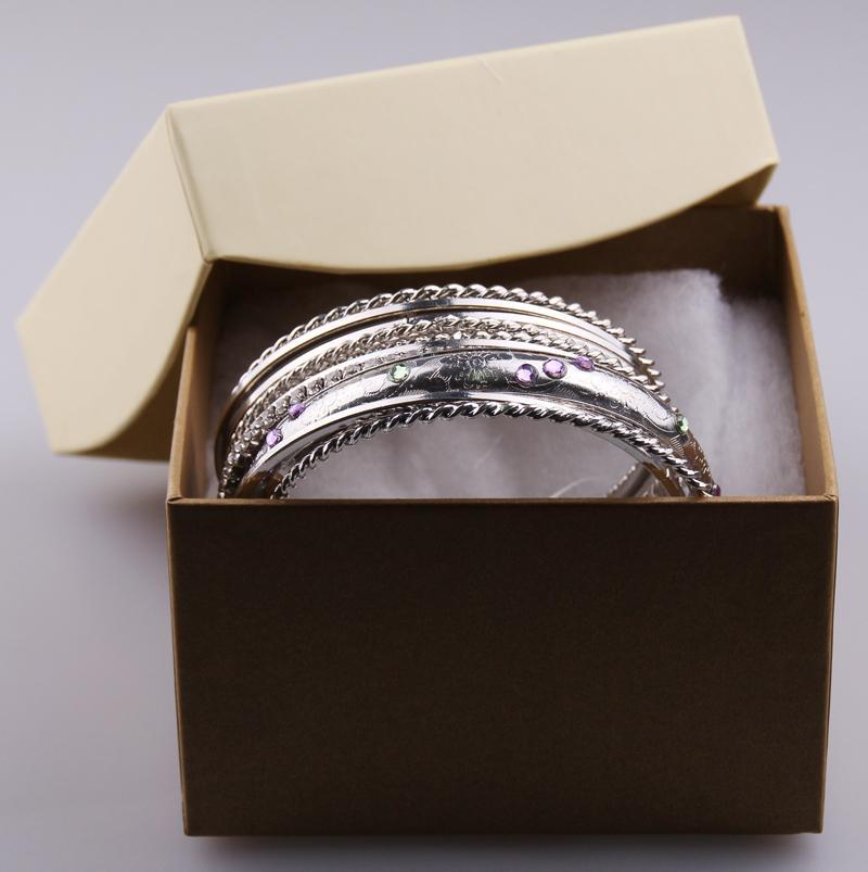 Hot! Gift set Rhodium metal bracelet bangle set with gift Box packing with specifications for Women holiday Crystal Bangles