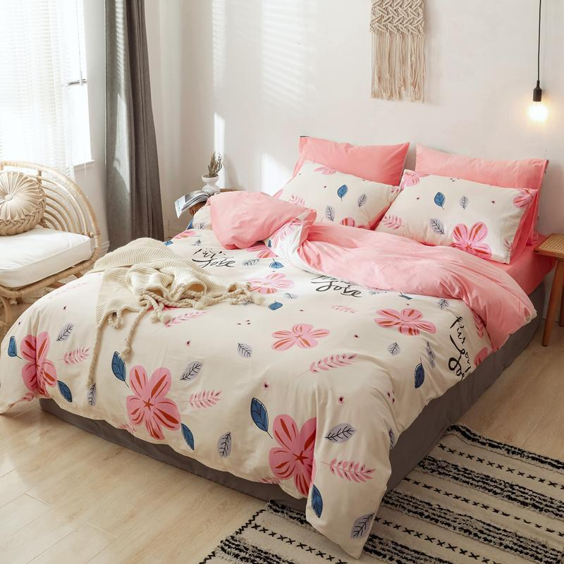 Pure Cotton And Crystal Velvet Bed Set Duvet Cover Pillowcase Flat Fitted Bed Sheet Pink Lovely Flowers Plaid Grey Clouds Leaf
