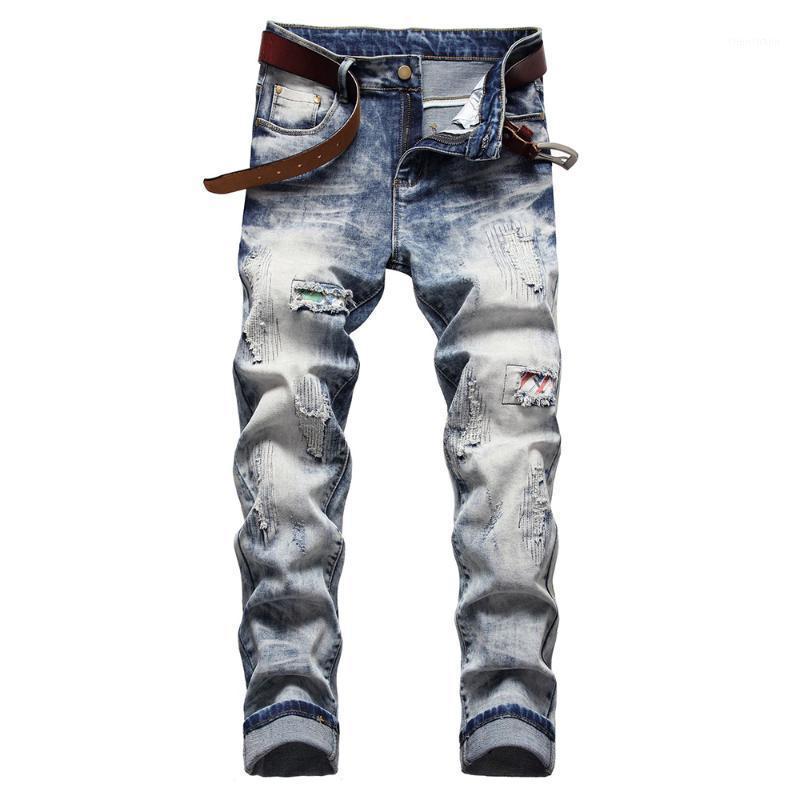 Männer Jeans Herren Streetwear Patchwork Ripped Löcher Schneegewaschene Denim Slim Gerade Hosen Hellblaue Hose1