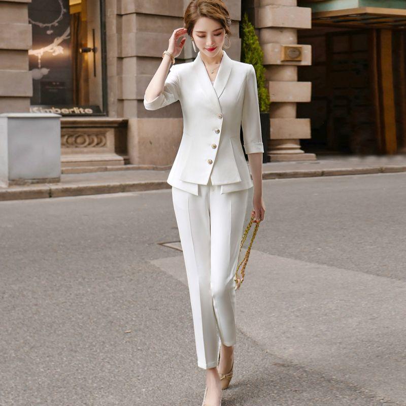 Terninho alta qualidade casuais das mulheres Two Piece Set 2020 New Verão elegante jaqueta feminina Branco Blazer Vestuário Do Negócio